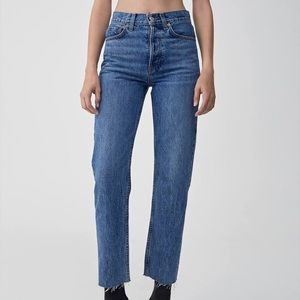 Re/Done Stovepipe high-rise straight leg jeans